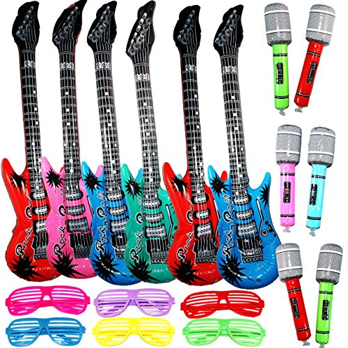Joyin Toy Inflatable Rock Star Toy Set – 6 Electric Guitar (38 Inches), 6 Microphones and 6 Shutter Shading Glasses.