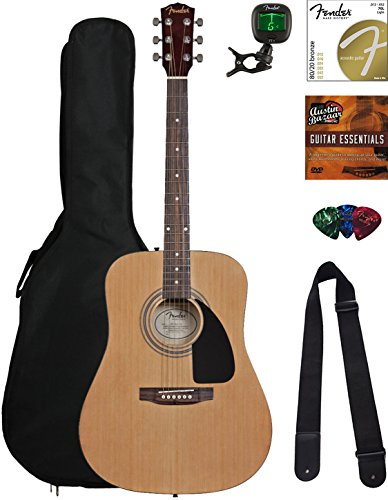 Fender Squier Acoustic Guitar Bundle with Gig Bag, Clip-On Tuner, Extra Strings, Strap, Picks, Austin Bazaar Instructional DVD, and Polishing Cloth – Natural