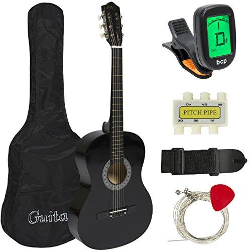 38″ Black Acoustic Guitar Starter Package (Guitar, Gig Bag, Strap, Pick)