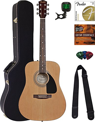 Fender Squier Acoustic Guitar Bundle with Hard Case, Austin Bazaar Instructional DVD, Stand, Tuner, Strings, Strap, Picks, Winder and Polishing Cloth