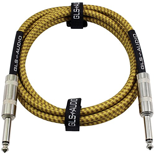 GLS Audio 6 Foot Guitar Instrument Cable – 1/4 Inch TS to 1/4 Inch TS 6-FT Brown Yellow Tweed Cloth Jacket – 6 Feet Pro Cord 6′ Phono 6.3mm – SINGLE